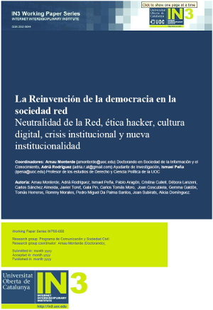 Paper cover for La reinvención de la democracia en la sociedad-red
