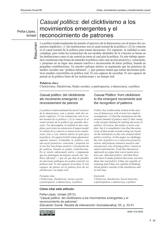 Paper cover for Casual politics: del clicktivismo a los movimientos emergentes y el reconocimiento de patrones