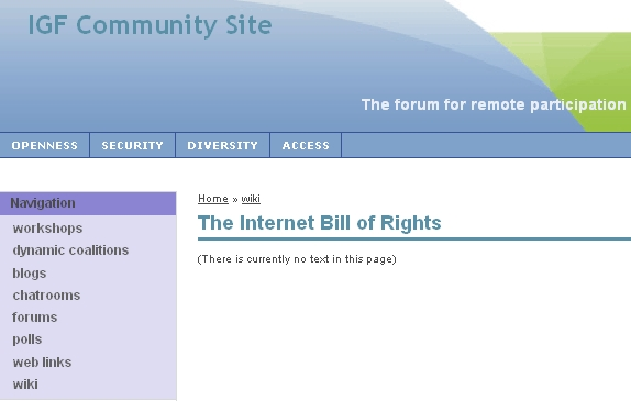 IGF Community Site Wiki: The Internet Bill of Rights page