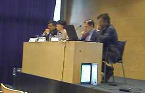 Left to right: Ricard Martínez, Ester Mitjans, Lucas Murillo, Yves Poullet