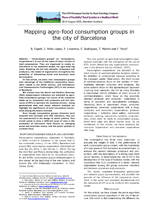 "Cover of Espelt, R., Peña-López, I., Losantos, P., Rodríguez, E., Martín, T. & Pons, F. (2015). ""Mapping agro-food consumption groups in the city of Barcelona"""