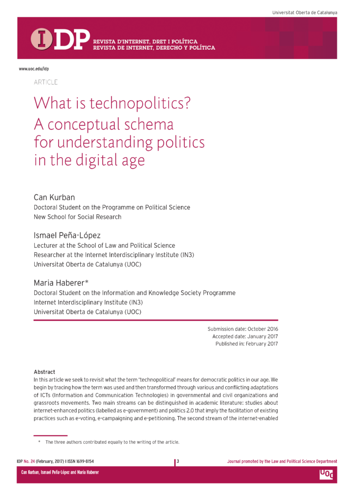 Cover of the article What is technopolitics? A conceptual scheme for understanding politics in the digital age