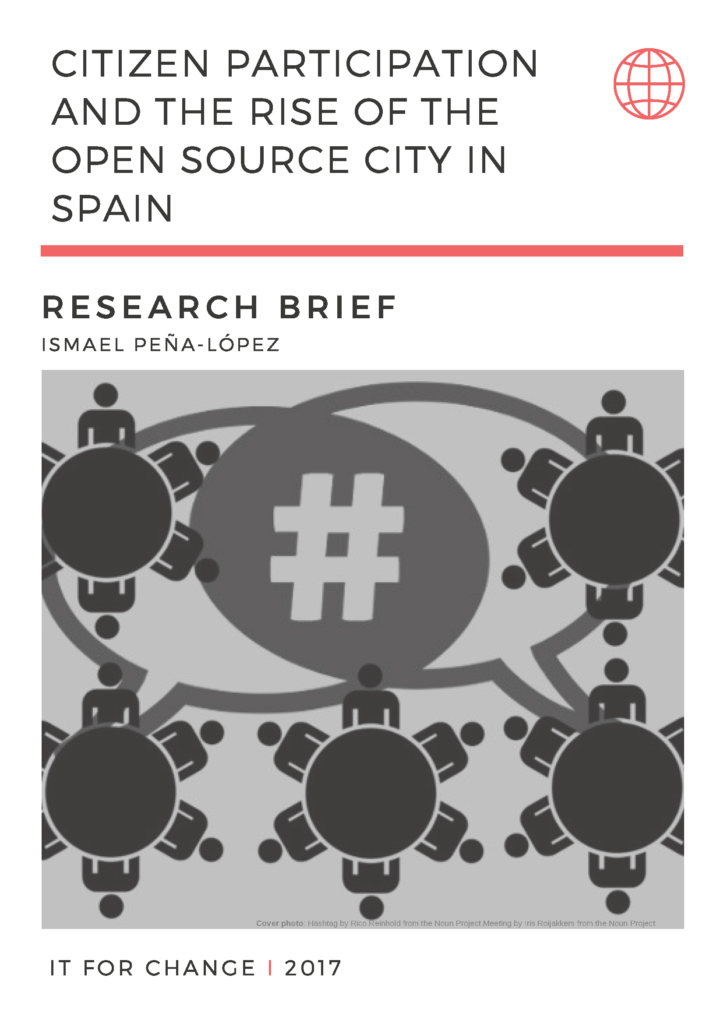 Cover of the policy brief Citizen participation and the rise of the open source city in Spain