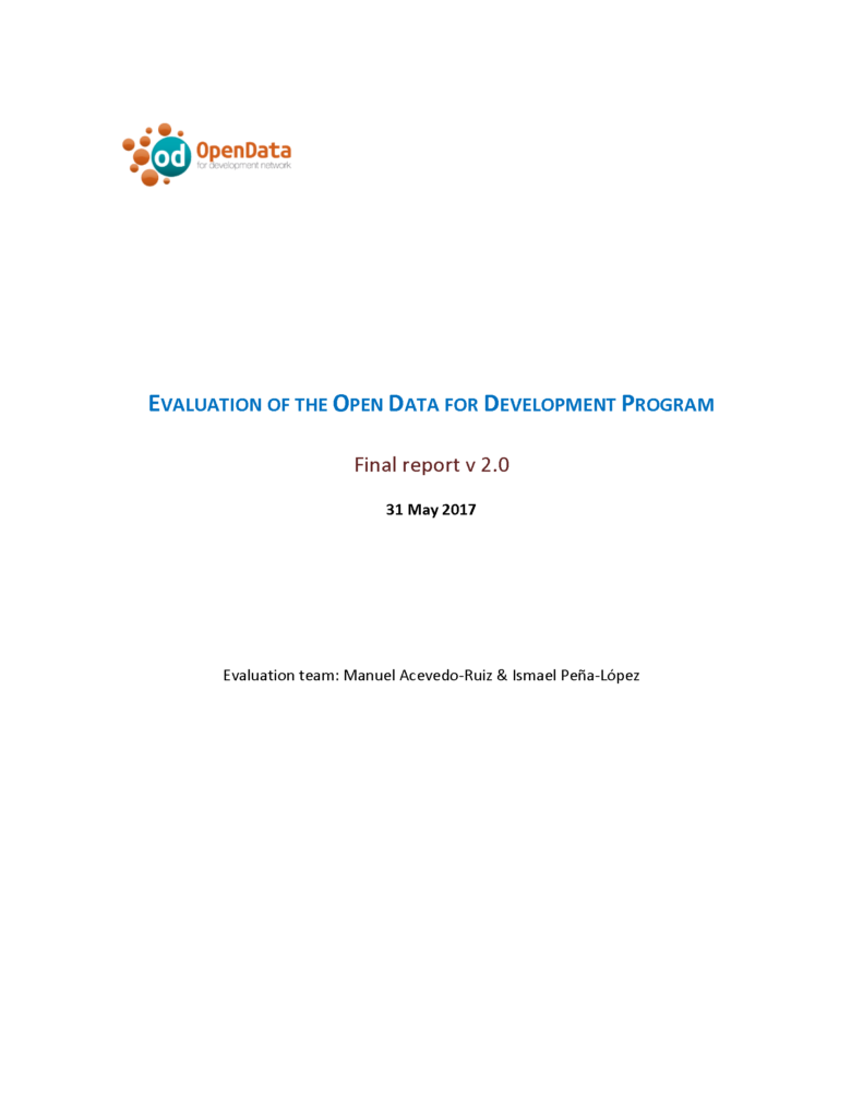 Cover of the report for the Evaluation of the Open Data for Development program
