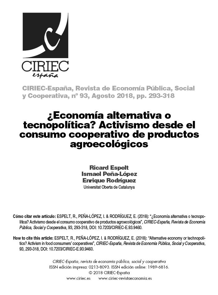 Cover for ¿Economía alternativa o tecnopolítica? Activismo desde el consumo cooperativo de productos agroecológicos