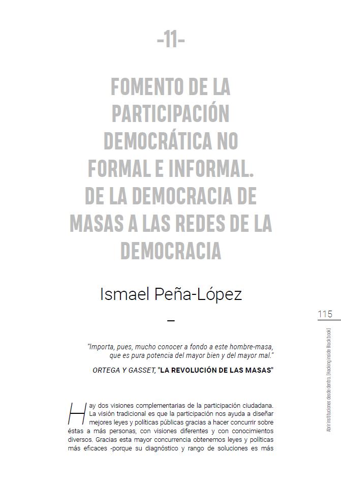 Book cover of Fomento de la participación democrática no formal e informal. De la democracia de masas a las redes de la democracia (chapter 11)