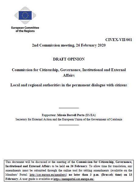"Cover of the draft opinion ""Local and Regional Authorities in the permanent dialogue with citizens"""