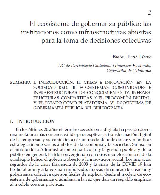 """First page of the book chapter """"El ecosistema de gobernanza pública: las instituciones como infraestructuras abiertas para la toma de decisiones colectivas"""""""