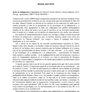 Cover of the book review: Redes de indignación y esperanza