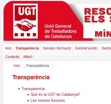 Pantallazo del Portal de la transparencia de UGT Catalunya