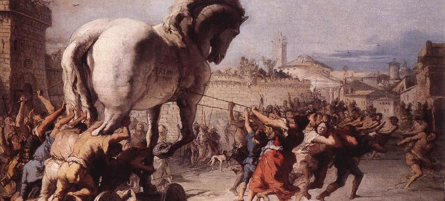 Cuadro de Giovanni Domenico Tiepolo con el caballo de Troya siendo entrado en la ciudad