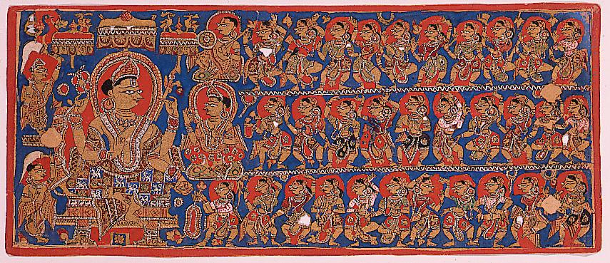 Imagen de una corte con sus nobles y lacayos