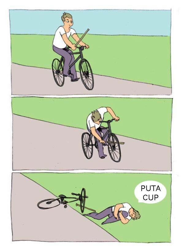 Un hombre va en bicicleta y se hace caer a sí mismo al poner un palo entre los radios de la rueda delantera.