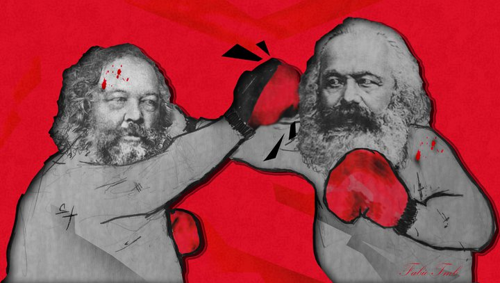 Caricatura de Marx y Bakunin en una pelea de boxeo