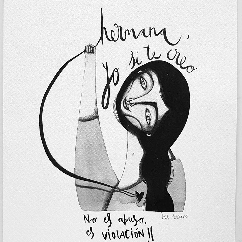 """Dibujo de una chica con la leyenda """"Hermana, yo sí te creo. No es abuso, es violación."""