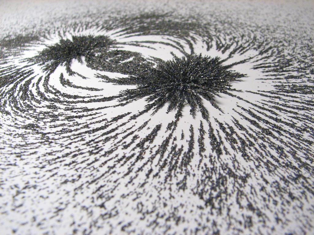 Fotografía de un campo magnético con limaduras de hierro